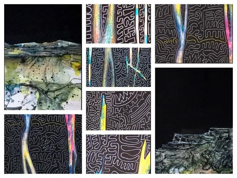 Landschft mit Nachthimmel - Aquarell - Collage