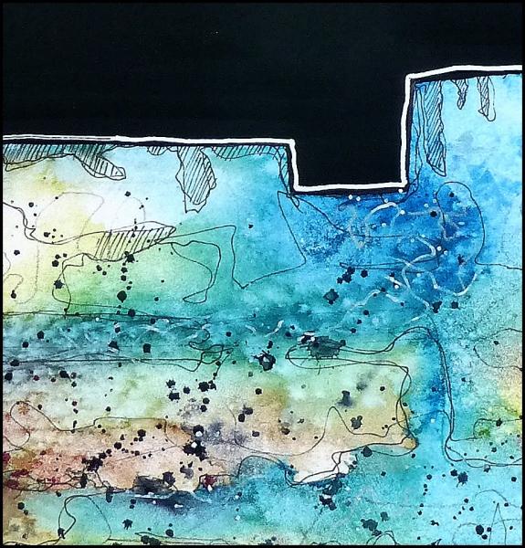 Landschft mit Nachthimmel - Aquarell - Auschnitt