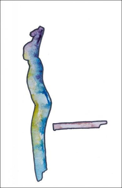 Aquarell mit Tusche und Lackstift