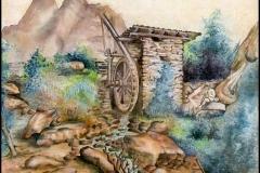 Aquarell nach Albrecht Dürer - Wassermühle im Gebirge