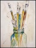 Wasserglas mit Malpinsel - Aquarell
