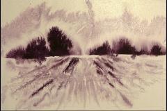 Landschaft Aquarell mit Zuckerwasser